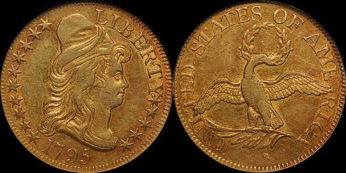 1795 $5.00 NGC AU55