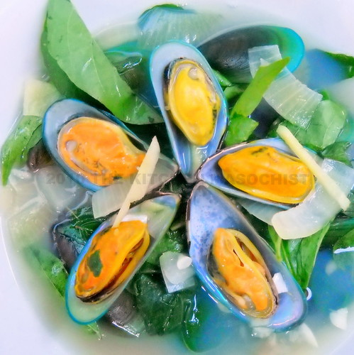 Mussels in Ginger Soup With Chili Leaves