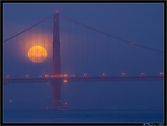 Moon and Golden Gate (Tony Immoos) Tags: sanfrancisco california morning moon tower water fog night clouds wow coast haze glow awesome scenic landmark olympus luna goldengatebridge goldengate historical marincounty e3 70300mm moonset marinheadlands pointbonita ggb zd sanfranciscocounty olympuse3