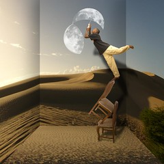 When the moon brakes down (Robbert van der Steeg) Tags: light moon chair desert humor free nothingisimpossible robbertvandersteegrobbertvandersteeg