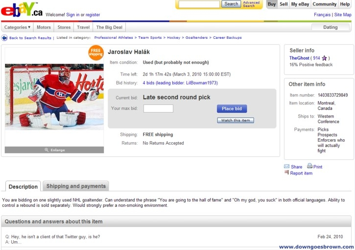Halak on eBay
