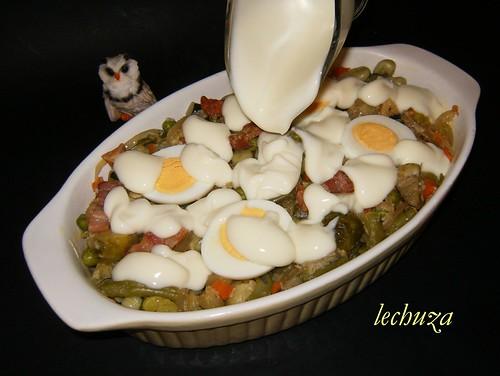 Gratinado de verduras-añadir bechamel.
