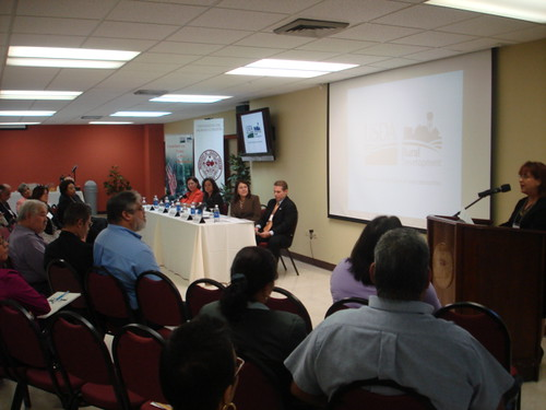 In attendance at the Puerto Rico Self-Help Housing Forum: Seated from left, Laura Cotte, Director of the Office of External Resources of the Sacred Heart University; Arlene Zambrana, Rural Housing Program Director (Puerto Rico); Tammye Treviño, Administrator for Housing & Community Facilities Programs, USDA RD; and José Otero, RD State Director for Puerto Rico.