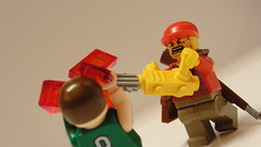 Doing what he does best! (Kirk0007) Tags: lego zombie chainsaw gore brickarms postapoc