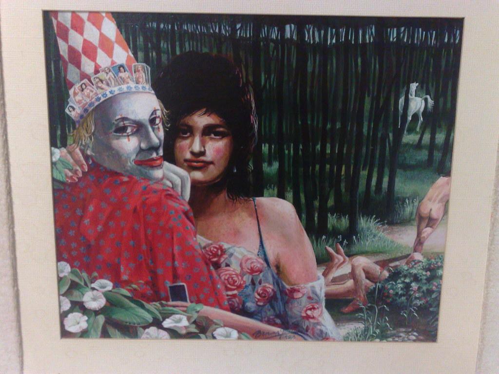 Aparte kunst aan de muur in kleedkamer van Den Durpsherd in Berlicum