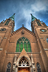 Cathedral Spires (gregodonnell) Tags: old houses brick abandoned windmill stone architecture clouds barn buildings booth nikon highway skies phone post farm structure used kansascity missouri processing mansion roads hdr highdynamicrange amature photomatix d5000 hdraddicted gregodonnell