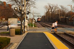 IMG_4157 Pedestrians Crossing the Train Tracks Park Ridge, Illinois (www.cemillerphotography.com) Tags: city urban town community commerce district lifestyle peaceful business sleepy easy township laidback bucolic surburban
