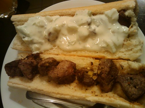 Souvlaki and Tzatziki on Bread 1