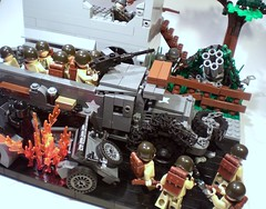 "Battle of Cologne: ""42's in the Building!"" (PhiMa') Tags: lego wwii cologne worldwar2 wehrmacht mg42 m3halftrack nebelwerfer"