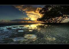 Morning Has Broken (danishpm) Tags: sunrise canon australia wideangle qld ripples lowtide aussie aus 1020mm manfrotto sigmalens nudgeebeach eos450d 450d 09nd reversegrad sorenmartensen stingrayholes hitechgradfilters