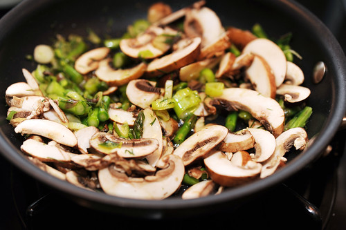 mushrooms, scallions, asparagus