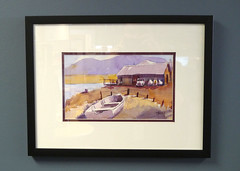 taylor reservoir boathouse, framed (mike thomas) Tags: art watercolor painting mine framed reservoir taylor boathouse
