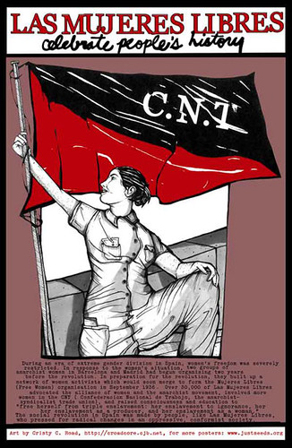 A woman raises a CNT flag. Text at the top reads Las Mujeres Libres celebrate people's history