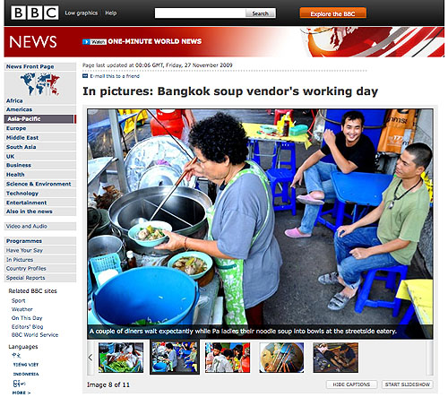Screen shot of a BBC article on Bangkok