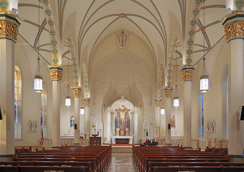 Saint Dominic Roman Catholic Church, in Breese, Illinois, USA - nave