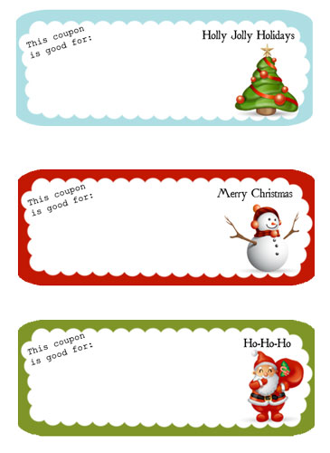 Free Printable Holiday Coupons  Blank Christmas Templates