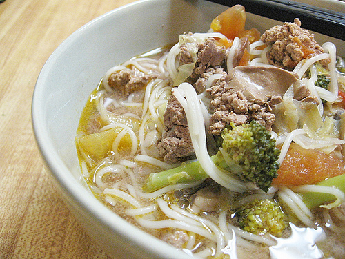 Chicken Livers With Vegetables Noodle Soup
