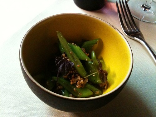 Yam'Tcha: Flat bean salad with ground pork and shiso