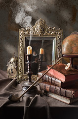 candle mirror still life (kevsyd) Tags: stilllife dice clock globe candle pipe vanitas leatherbooks dutchstilllife