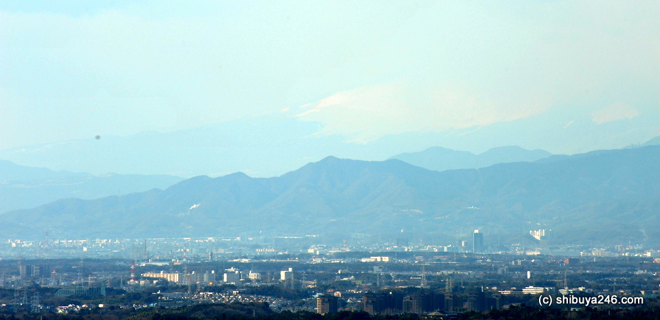 Mt Fuji just visible in the distance