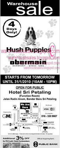 28 - 31 Jan: Hush Puppies Obermain Warehouse Sale