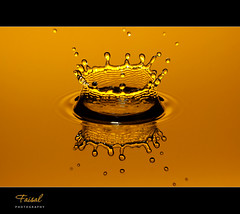 Golden Crown.. (Faisal | Photography) Tags: water speed photography gold high drop splash fp explore1 canonef100mmf28macro canoneos50d dropcrown canonspeedlitetransmitterste2 canonspeedlite580exii faisal|photography