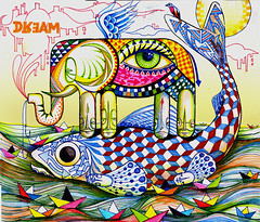 DREAM (.  F L F  .) Tags: sea sky sun fish elephant bird eye art love water tattoo clouds paper skeleton graffiti boat truth pattern ghost wing dream monk totem peixe olho hook sonho faithful monge covenant barquinho anzol eleefante franciscofreitas
