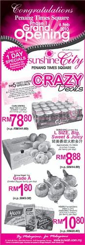 06 Feb: Sunshine City Penang Times Square Crazy Deals