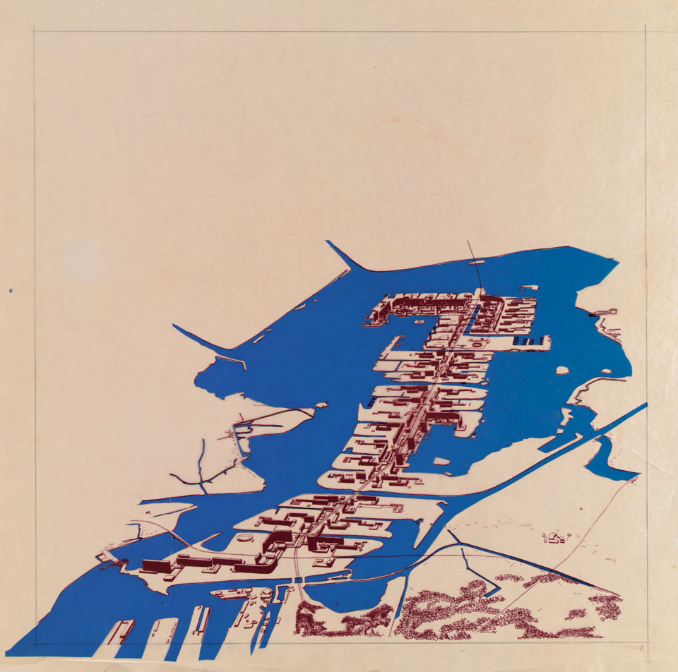 H Klopma and JB Bakema, architectural firm Van den Broek and  Bakema, City on Pampus, drawing, 1964