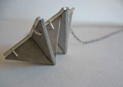 crossbuck necklace sterling frame with recycled paper by Cynthia Rohrer (Rohrer Design) Tags: sanfrancisco geometric lines paper chain cardboard sterling cutouts patina necklaces handmadejewelry crossbucks contemporaryjewelry recycledjewelry modernjewelry studiojewelry rohrerdesign cynthiarohrer
