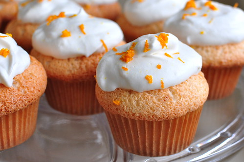 ORANGE ANGEL FOOD CUPCAKES WITH WHIPPED CREAM FROSTING