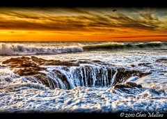 Thor's Well (Chris Mullins) Tags: ocean sunset clouds oregon photoshop coast surf waves pacific drain blowhole pacificnorthwest photomatix cookschasm thorswell