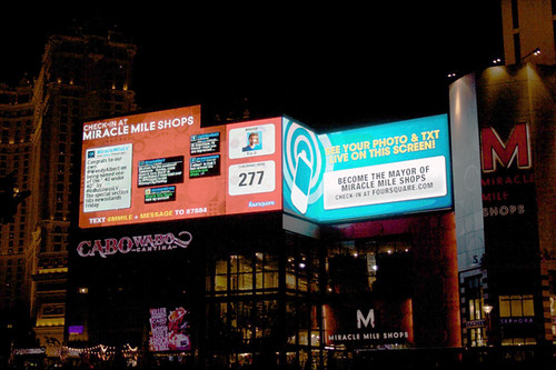 Hmm.. what would foursquare look like on a Las Vegas billboard?  Ah, probably something like this...