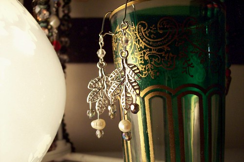earrings and moroccan tea glass