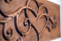 Heart (lisbokt) Tags: wood stain cherry dof heart bokeh walnut carving romance depthoffield stained relief romantic haas cnc hardwood shallowdepthoffield curlique cncrouter 3axis curlyque