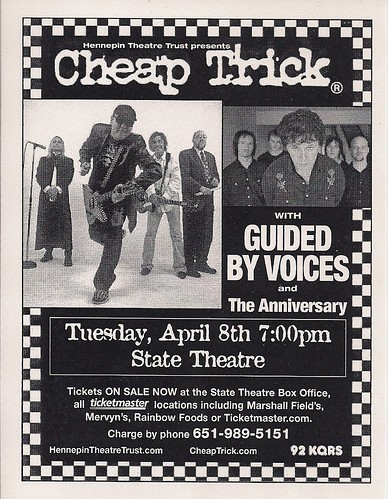 04/08/03 Cheap Trick/Guided By Voices/The Anniversary @ Minneapolis, MN (Handbill)