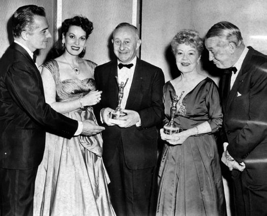 Rossano Brazzi, Maureen O'Hara, Arthur Freed, Spring Byington, and Maurice Chevalier.JPG