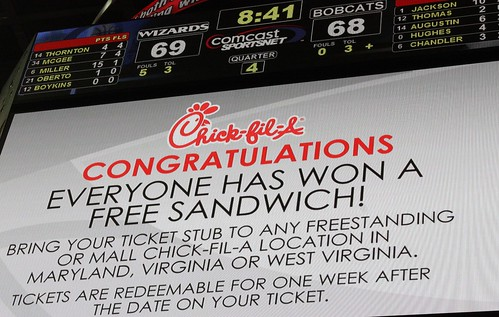 Washington Wizards, Chic-fil-a, free sandwich, missed free throws