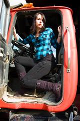 (NEW photography) Tags: light portrait girl truck ma outside spring model boots massachusetts newengland jeans denim brunette mass plaid bridgewater macktruck