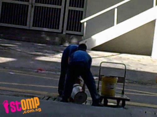 Workers dump pails of dirty brown industrial oil down drain in Bedok