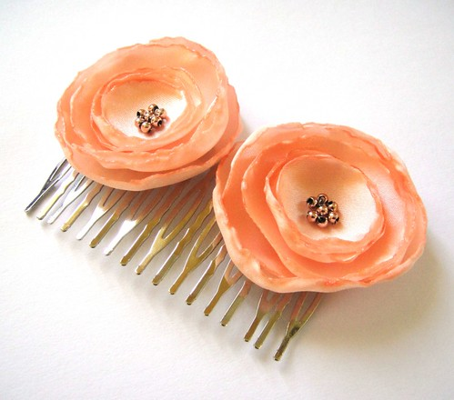peach salmon rose blossom flower hair comb