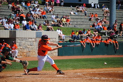 MAKING CONTACT (SneakinDeacon) Tags: acc baseball miami ncaa vt hurricanes blacksburg virginiatech hokies englishfield