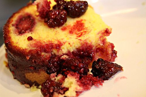 slice of blackberry topped lemon cake