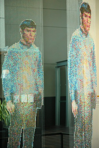 Leonard Nimoy as Spock science officer with tricorder, beads and wire, sculpture by Devorah Sperber, Spock, Kirk and McCoy: Beaming-In (In-Between), Microsoft, Studio D, Redmond, Washington, USA