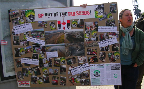 A display showing tar sands actions