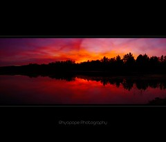 Yarramundi Puts On A Show (rhyspope) Tags: morning pink blue sunset sky panorama orange cloud lake cold color colour reflection tree nature water weather silhouette yellow creek photoshop sunrise canon river cool stream purple stitch natural bright pano horizon australia lagoon panoramic richmond photomerge aussie hawkesbury cs3 500d yarramundi agnesbanks rhyspope