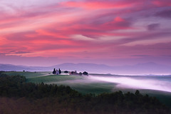 burning skies (Dennis_F) Tags: morning italien red sky italy mist green nature colors fog clouds sunrise landscape dawn spring woods it