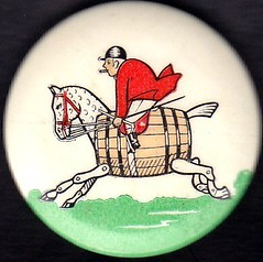 Rhymney Brewery 'Hobby Horse' - promotional badge (1960's) (RETRO STU) Tags: merthyrtydfil buttonbadge barrelhorse andrewbuchan rhymneybrewery whitbreadcoltd tinbuttonbadge hobbyhorsetrademark whitbreadwalesltd £353