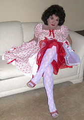 Me, in my red heart dress, and white lace pantyhose (Sugarbarre2) Tags: show city party people urban woman usa baby hot feet girl beautiful fashion self mom fun photo big high cool nikon toes image body lace flash s babe lingerie mature sissy wife upskirt heels slip granny reds mules nylon petticoat sheer 365days