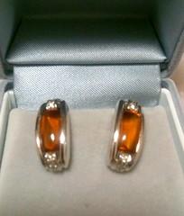 18K WG Citrine and Diamond Earrings